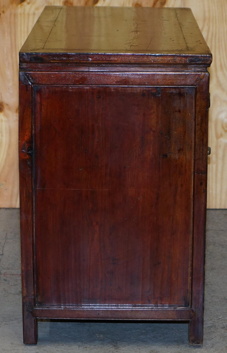 Vintage Chinese Cabinet Cupboard Sideboard Lacquered Carved and Detailed Piece For Sale 5