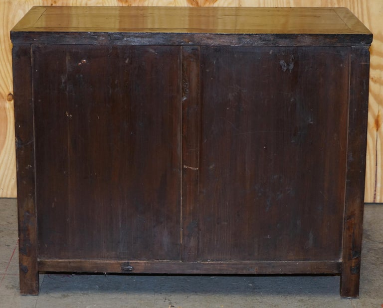 Vintage Chinese Cabinet Cupboard Sideboard Lacquered Carved and Detailed Piece For Sale 8