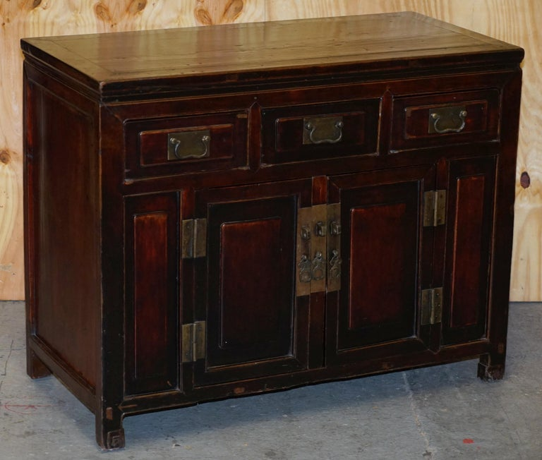 Victorian Vintage Chinese Cabinet Cupboard Sideboard Lacquered Carved and Detailed Piece For Sale