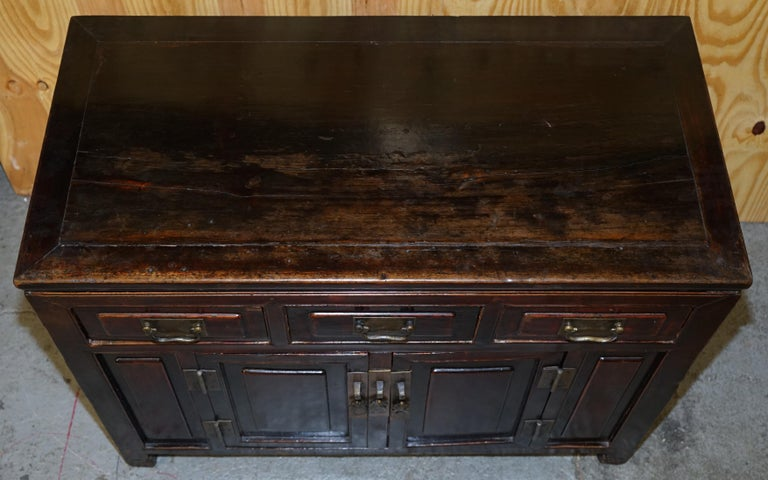 Vintage Chinese Cabinet Cupboard Sideboard Lacquered Carved and Detailed Piece In Fair Condition For Sale In London, GB