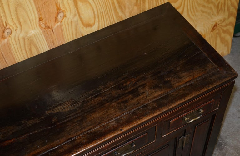 19th Century Vintage Chinese Cabinet Cupboard Sideboard Lacquered Carved and Detailed Piece For Sale