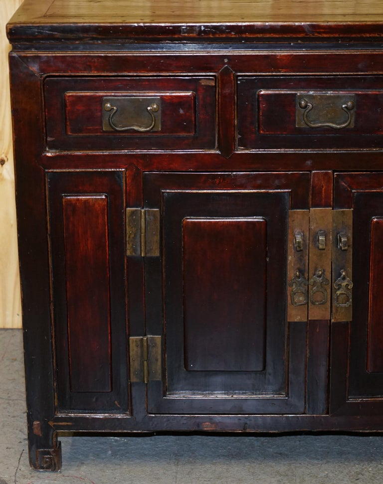 Wood Vintage Chinese Cabinet Cupboard Sideboard Lacquered Carved and Detailed Piece For Sale
