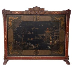 Vintage Chinese Carved and Painted Fire Screen, circa 1940s
