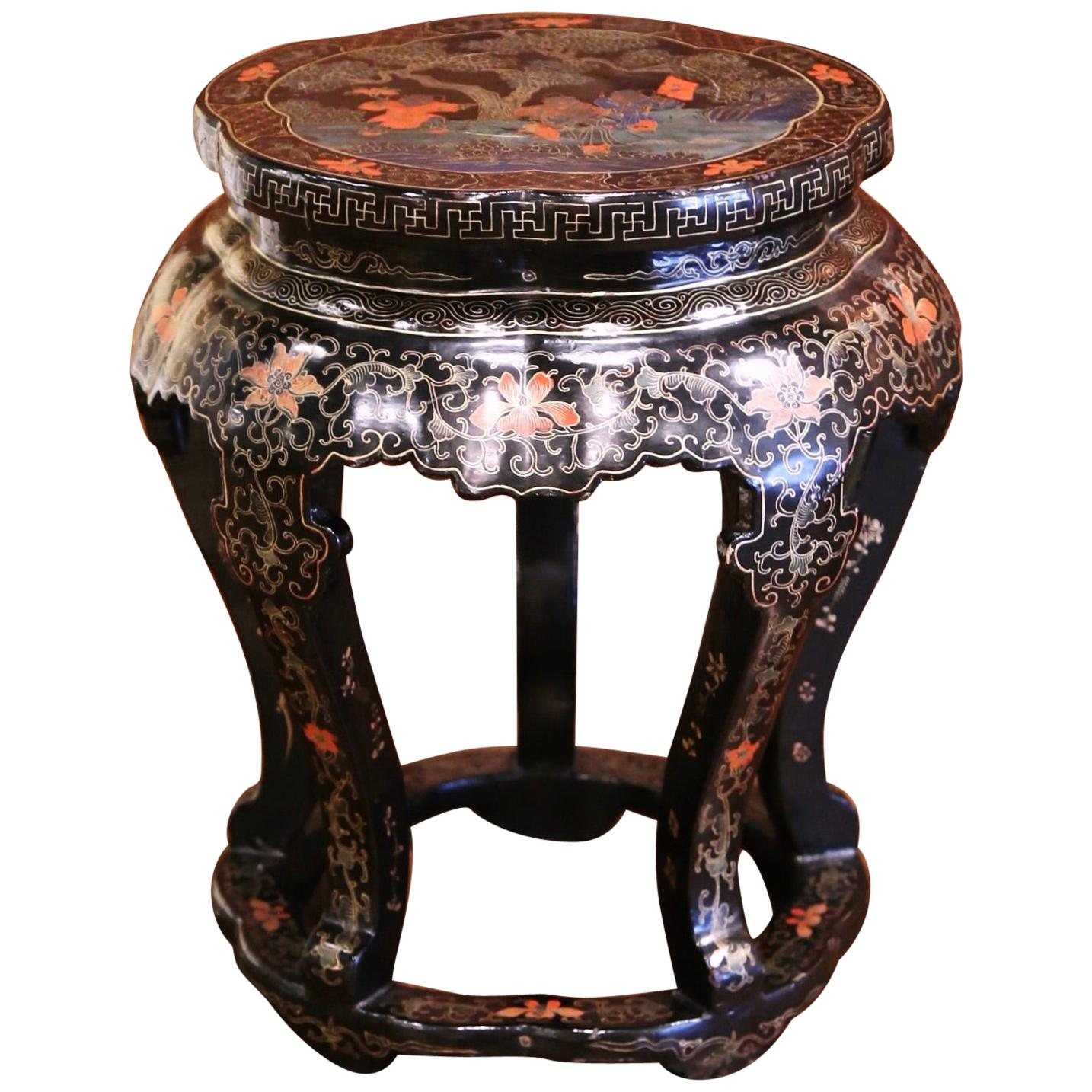 Vintage Chinese Carved Hand Painted Barrel Circular Garden Stool or Table