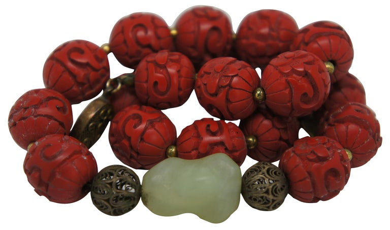 Chinoiserie Vintage Chinese Carved Red Cinnabar and Green Jade Bead Necklace Silver Clasp