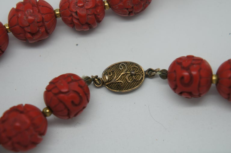 Vintage Chinese Carved Red Cinnabar and Green Jade Bead Necklace Silver Clasp In Good Condition In Dayton, OH
