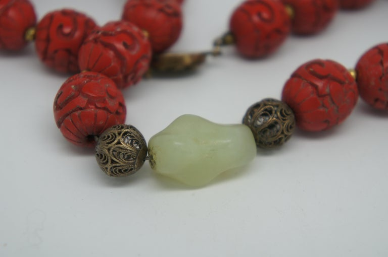 Vintage Chinese Carved Red Cinnabar and Green Jade Bead Necklace Silver Clasp 3
