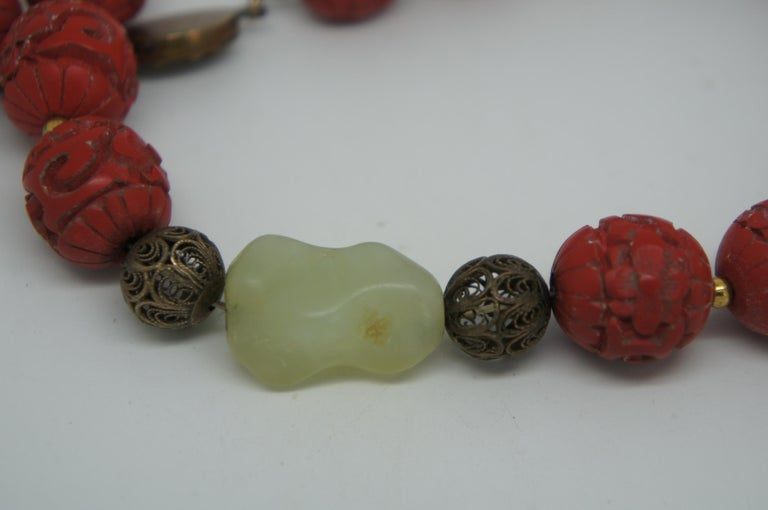 Vintage Chinese Carved Red Cinnabar and Green Jade Bead Necklace Silver Clasp 4