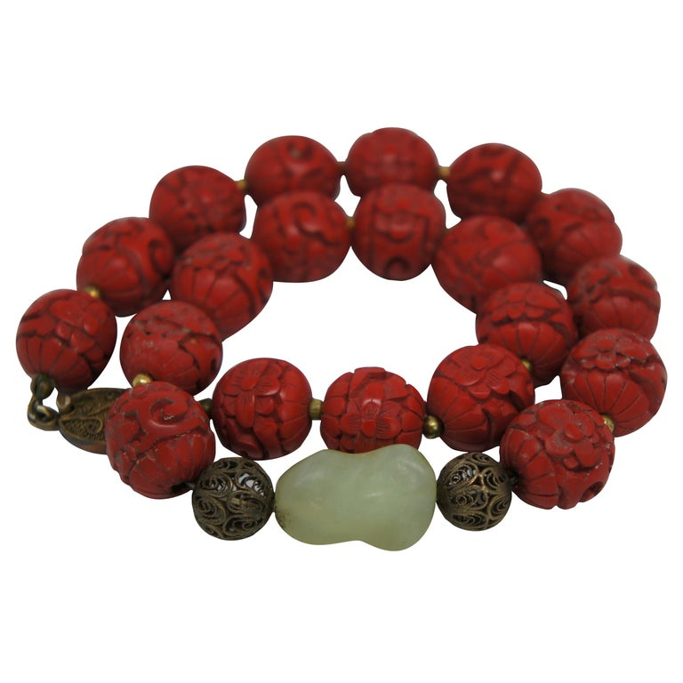 Vintage Chinese Carved Red Cinnabar and Green Jade Bead Necklace Silver Clasp