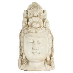 Vintage Chinese Carved Stone Bust of Guanyin the Bodhisattva of Compassion