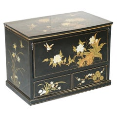 Vintage Chinese Chinoiserie TV Media Stand Black Lacquered Paint Bird & Flowers