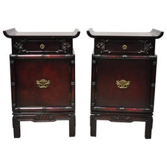 Vintage Chinese Chippendale Pagoda Top Mahogany Faux Bamboo Nightstands - a Pair
