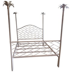 Vintage Chinese Chippendale Palm Tree Leaf Metal Four Poster Queen Full Size Bed