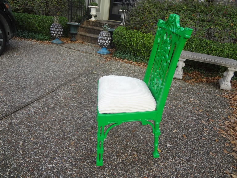 Vintage Chinese Chippendale Style Lacquered Chair In Good Condition For Sale In Houston, TX