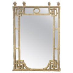 Vintage Chinese Chippendale White Faux Bamboo Greek Key Wall Mirror