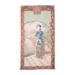 Vintage Chinese Cigarette Advertisement on Printed Silk
