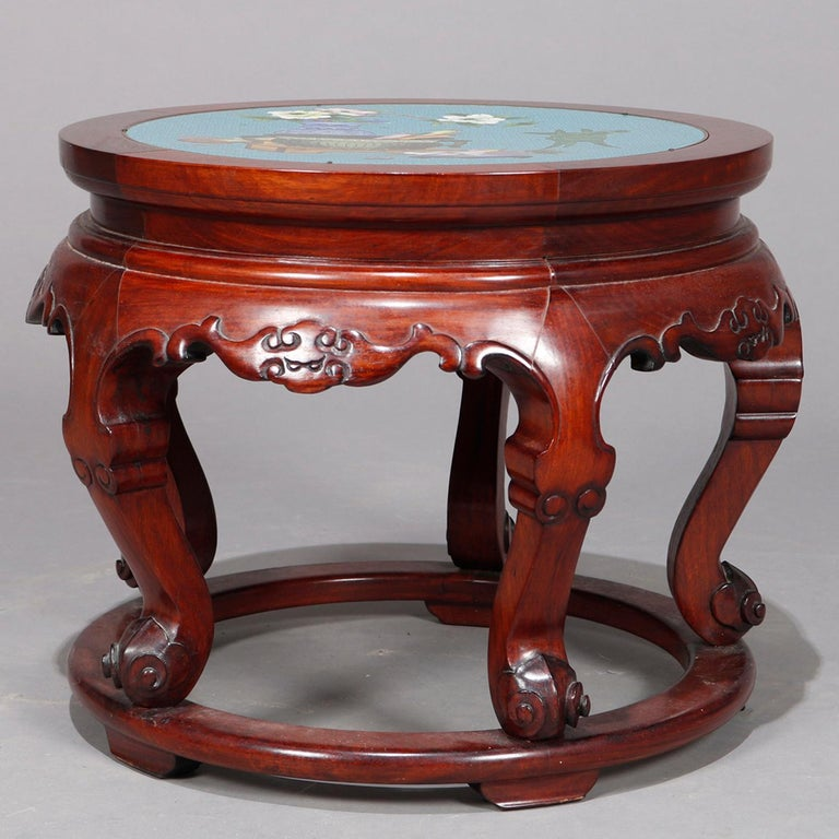Brass Vintage Chinese Cloisonné and Carved Mahogany Low Table, 20th Century For Sale