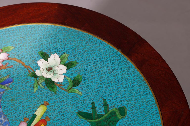 Vintage Chinese Cloisonné and Carved Mahogany Low Table, 20th Century For Sale 2