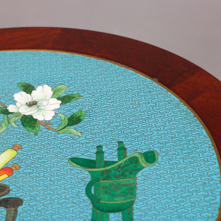 Vintage Chinese Cloisonné and Carved Mahogany Low Table, 20th Century For Sale 3