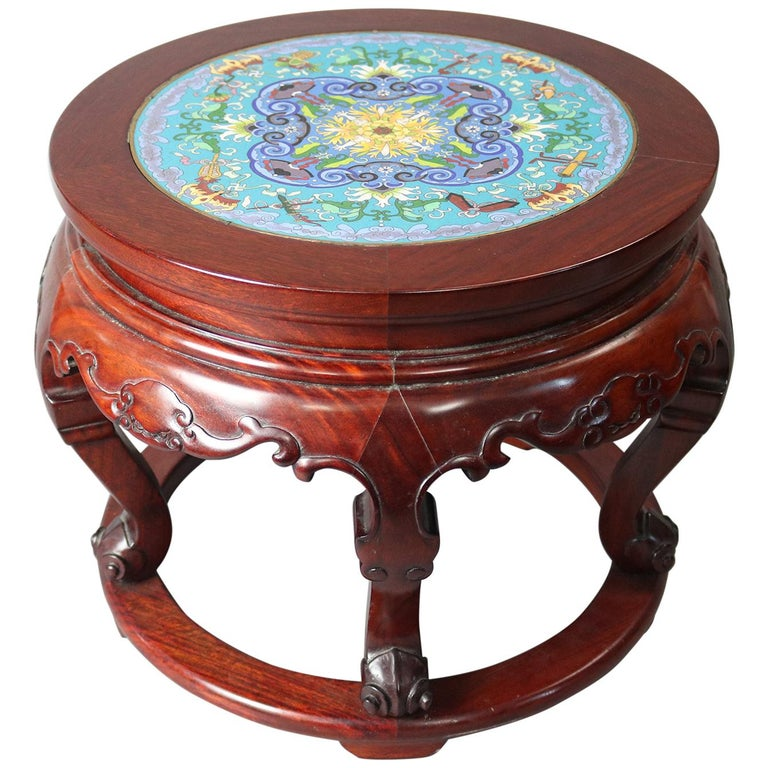 Vintage Chinese Cloisonne and Carved Mahogany Low Table, 20th Century For Sale