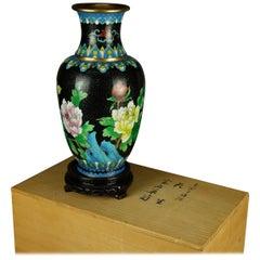 Vintage Chinese Cloisonne Floral Garden Enameled Brass Vase, Original Box