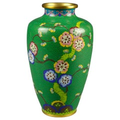 Vintage Chinese Cloisonné Floral Garden Hand Enameled Brass Vase, circa 1930