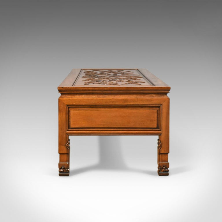 Coffee Table With Drawers Sale: Vintage Chinese Coffee Table, Low, Three-Drawer, Carved