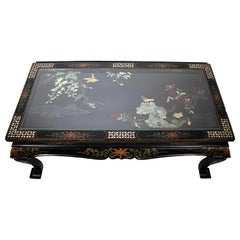 Vintage Chinese Coffee Table with Precious Decorations, China, Early to Mid-1900