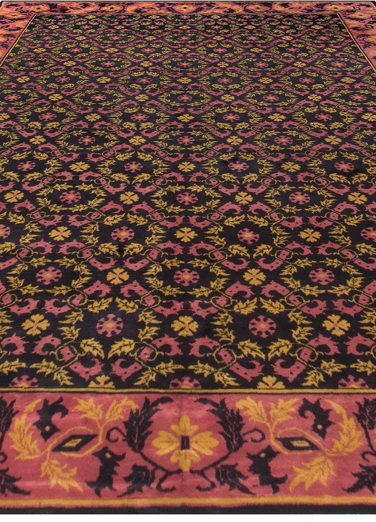 Hand-Knotted Vintage Chinese Deco Rug For Sale