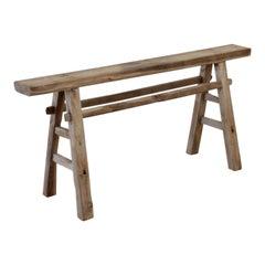 Vintage Elm Wood Bench