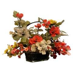 Vintage Chinese Export Jade & Hardstone Basket Floral Arrangement