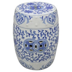 Vintage Chinese Export Porcelain Blue White Garden Drum Seat Stool with Flowers