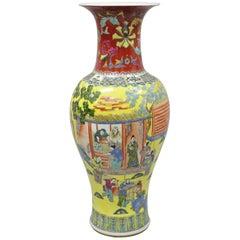 Vintage Chinese Famille Rose Yellow Porcelain Urn Vase Temple Vessel Jar