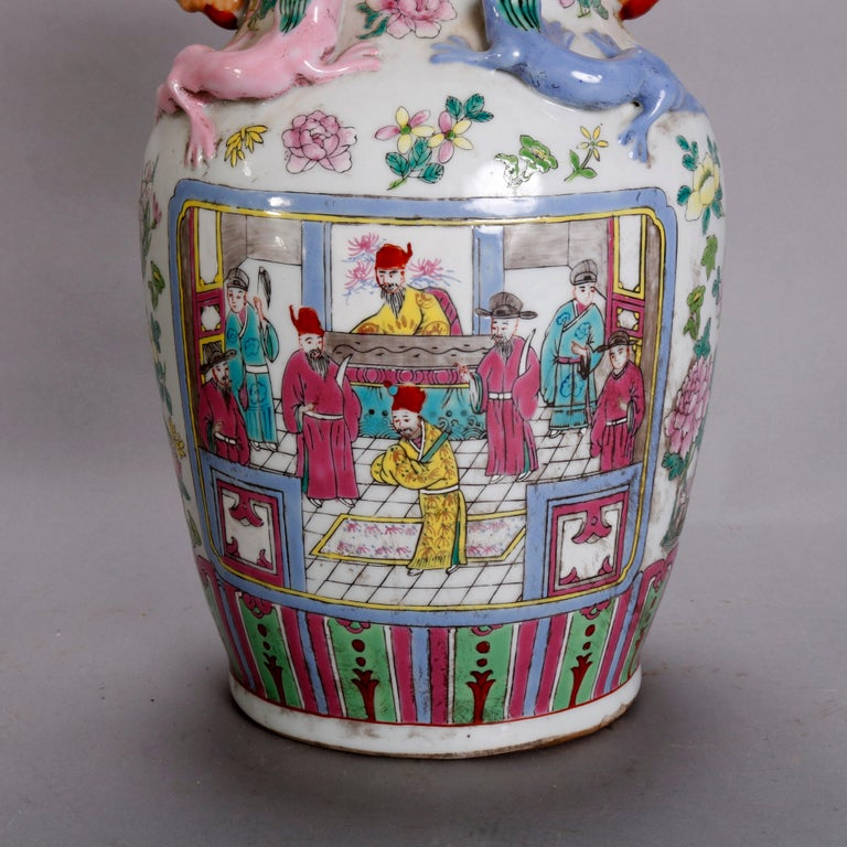 Vintage Chinese Figural Hand Enameled Porcelain Double Handle Vase, 20th Century For Sale 6