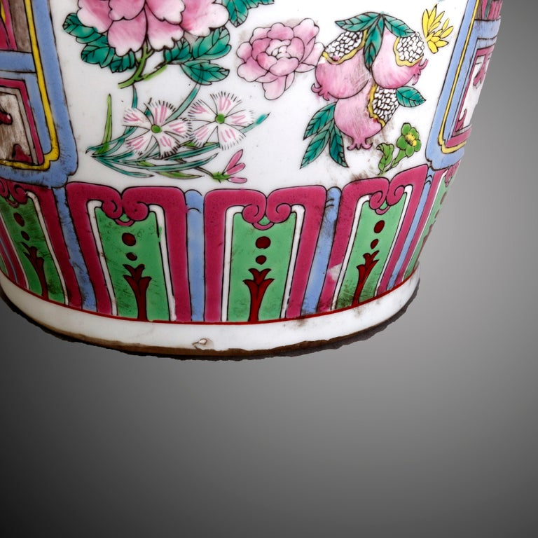 Vintage Chinese Figural Hand Enameled Porcelain Double Handle Vase, 20th Century In Good Condition For Sale In Big Flats, NY