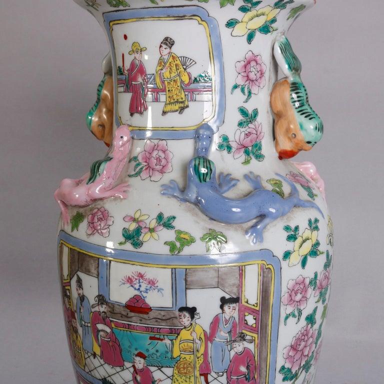 Ceramic Vintage Chinese Figural Hand Enameled Porcelain Double Handle Vase, 20th Century For Sale