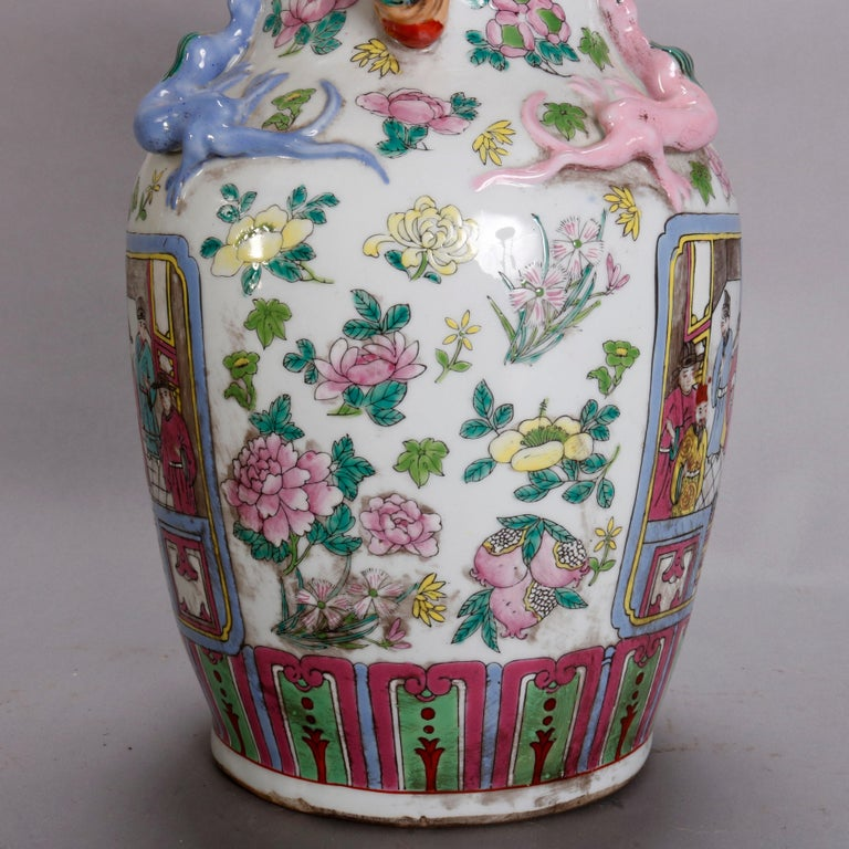 Vintage Chinese Figural Hand Enameled Porcelain Double Handle Vase, 20th Century For Sale 1
