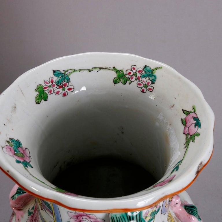 Vintage Chinese Figural Hand Enameled Porcelain Double Handle Vase, 20th Century For Sale 2