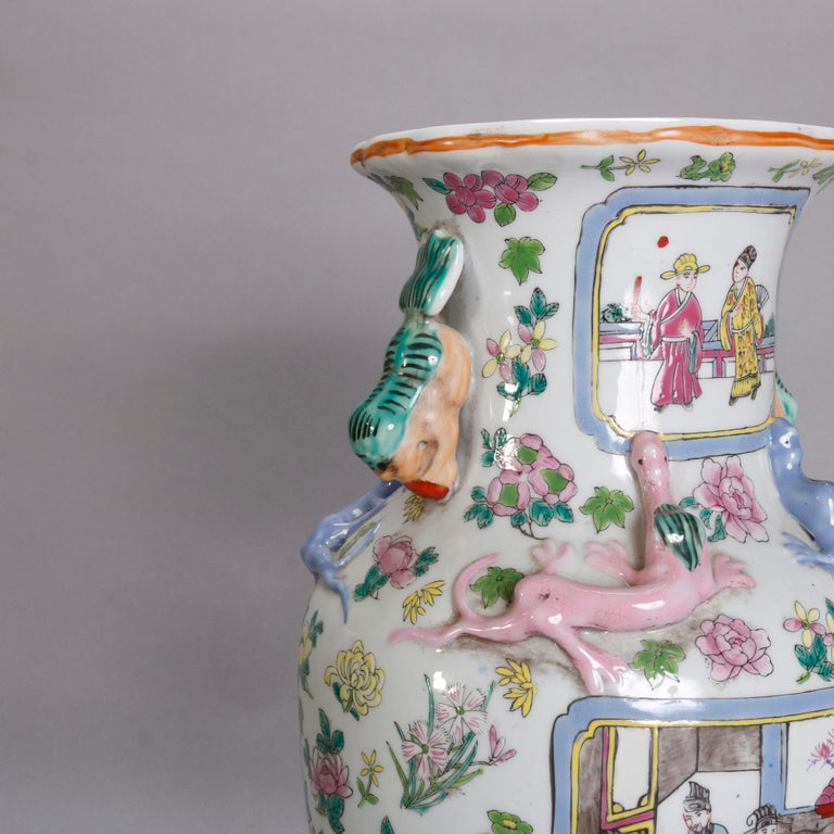Vintage Chinese Figural Hand Enameled Porcelain Double Handle Vase, 20th Century For Sale 3