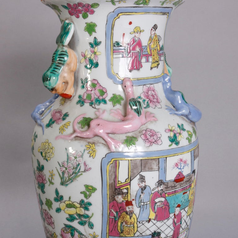 Vintage Chinese Figural Hand Enameled Porcelain Double Handle Vase, 20th Century For Sale 4