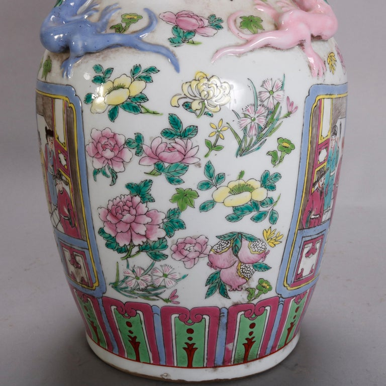 Vintage Chinese Figural Hand Enameled Porcelain Double Handle Vase, 20th Century For Sale 5