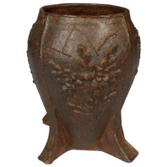 Vintage Chinese Floral Cast Iron Mortar