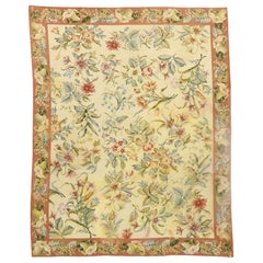 Vintage Chinese Floral Needlepoint Rug with Garden Conservatory Style