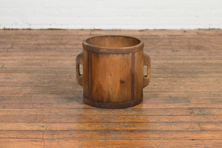 Wood Vintage Chinese Grain Measuring Cup with Metal Braces and Lateral Handles For Sale