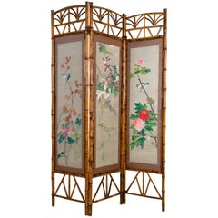 Vintage Chinese Hand Painted Bamboo Screen, China, circa 1950