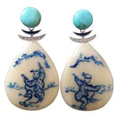 Vintage Chinese Hand Painted Cow Bones Gold Diamonds Turquoise Enamel Earrings