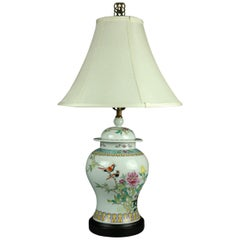 Vintage Chinese Hand Painted Porcelain Floral Garden Ginger Jar Table Lamp