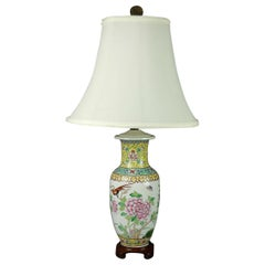 Vintage Chinese Hand Painted Porcelain Floral Garden Vase Table Lamp