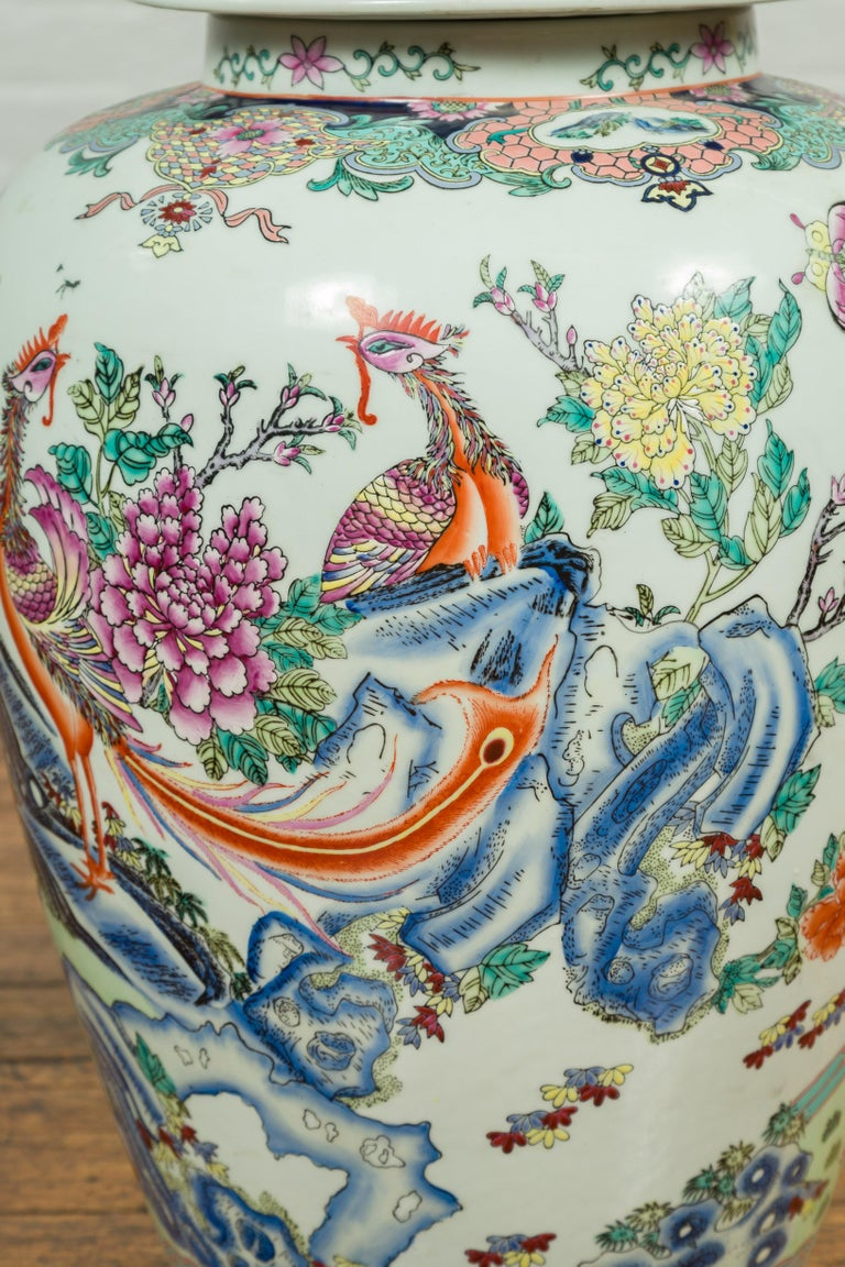 Vintage Chinese Hand Painted Porcelain Palace Jar, circa 1960 with Phoenix Motif For Sale 1