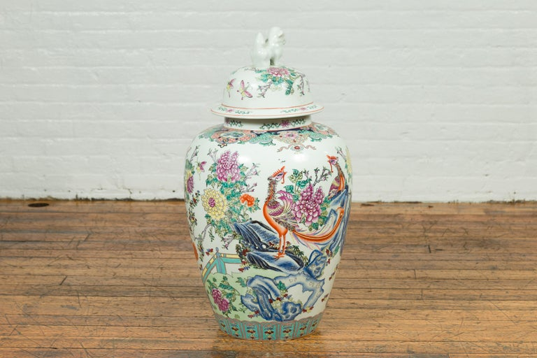 Vintage Chinese Hand Painted Porcelain Palace Jar, circa 1960 with Phoenix Motif For Sale 2